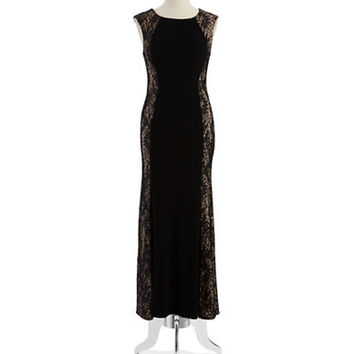 Xscape Petite Lace Accented Gown