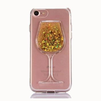 FREE Plus Shipping - Star glitter sequin quicksand summer drink red wine glass phone cases For Iphone