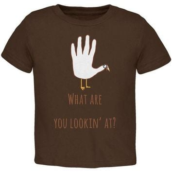 CREYCY8 Thanksgiving Turkey What Are You Looking At?  Brown Toddler T-Shirt