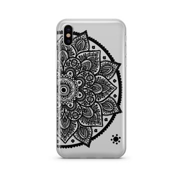 Black Henna Lotus Mandala - Clear TPU Case Cover Phone Case