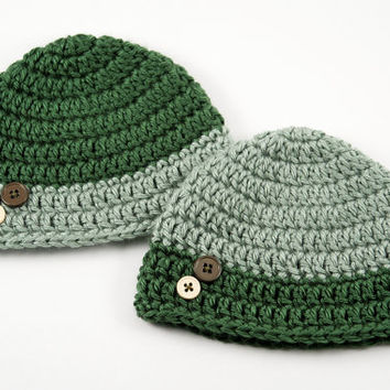 Newborn Crochet Hat Set // Shades of Green with Buttons // Twin Hat Set
