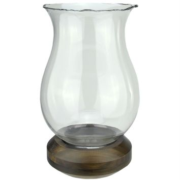 """17"""" Wavy Edged Clear Glass Hurricane Pillar Candle Holder with Wooden Base"""