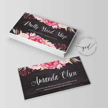 Pretty Wood Business Card Template Watercolor flower, Calligraphy, Jewelry, Make Up, Design