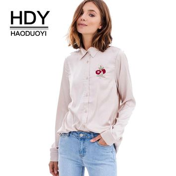New Fashion Women Shirts Flowers Embroidered Long Sleeve Shirt Button Down Ladies Tops Casual Autumn Pink Blouse