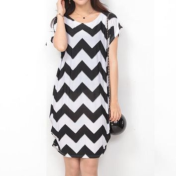 Water Wave Stripes Round Collar Dress