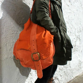 Oversized large orange Italian leather bag hobo asymmetrical strap slouchy leather handsewn bag OOAK Moroccan style artisan Sweet Smoke bag