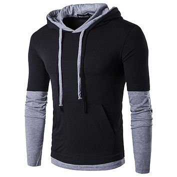 Men'S T Shirt Fake two years Summer Fashion Hooded Sling Long-Sleeved Tees Male New compression T-Shirt Slim Male Tops