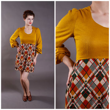 Vintage 1960s Dress- Mustard and Plaid Autumn Mini Dress - Golightly