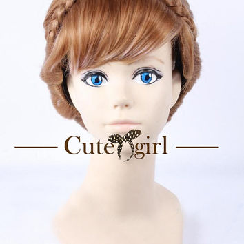 Exquisite Brown Up-do Frozen Princess Anna Anime Cosplay Wig Hair Wig Girl Wig
