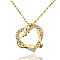 Lady's Brass Gold Plated Intertwined Heart Pendant Necklace with Clear Swarovski Elements Stones (45cm + 5cm Extension)