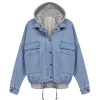 Drawstring Denim Jacket Outerwear with Hooded Vest