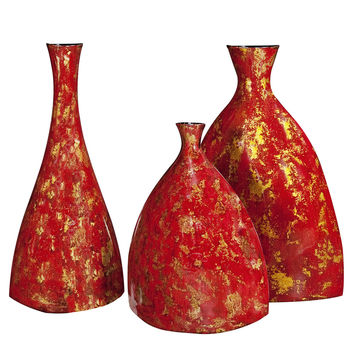 Bright Red Lacquer w/ Gold Accents Ceramic Vases - set of 3
