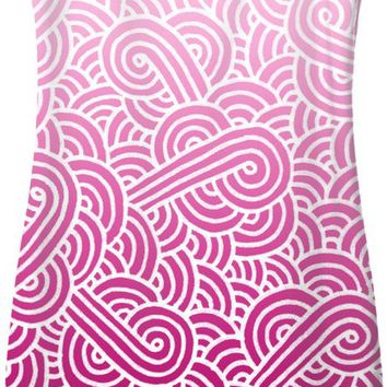 Ombre pink and white swirls doodles Simple Dress