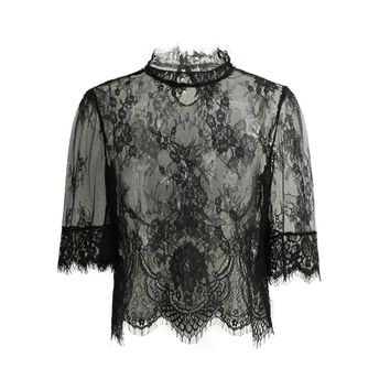 2017 Sexy Sheer Lace Crop Top Women Embroidery Lace Tops High Neck Half Sleeve Ladies Blouse Mesh Shirt Clubwear Blusas Black