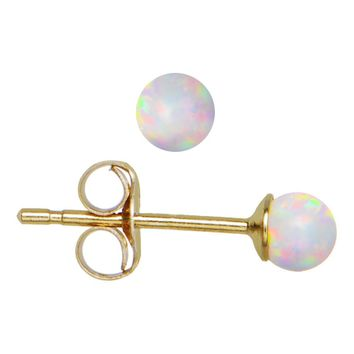 14kt Yellow Gold 7mm Synthetic Opal Stud Earrings