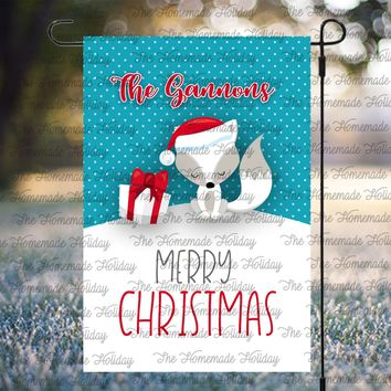 Personalized Christmas Fox Lawn Flags