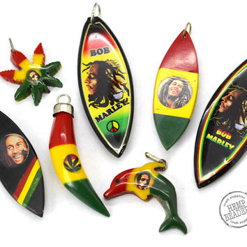 Rasta Pendants, 7 pcs, Reggae Pendants, Acrylic Pendants, Rasta Colors, Red Yellow Green
