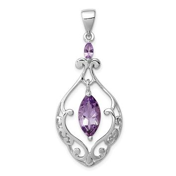 Sterling Silver Marquise Amethyst Filigree Pendant
