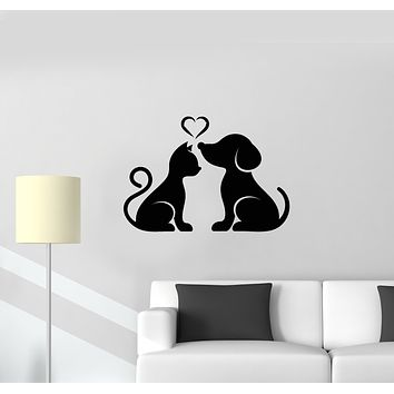 Vinyl Wall Decal Love Animals Pets House Dog Cat Veterinary Nursery Decor Stickers Mural (g1601)