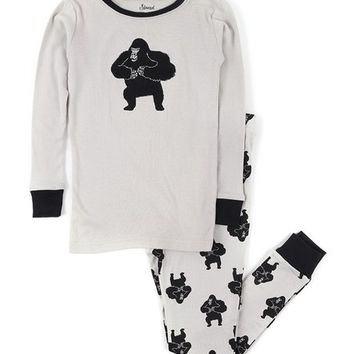 Gray & Black Gorilla Contrast-Trim Pajama Set - Infant, Toddler & Boys