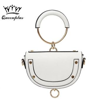 Original design 2017 new metal handle to the semi-circular dumplings package trend female semi-circular hand shoulder bag