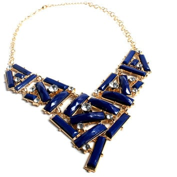 """Deep Blue Sea"" Gold Statement Necklace With Blue Stone And Diamond Accents"