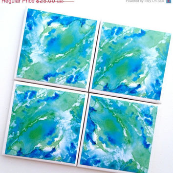 CIJ SALE Abstract Watercolor Coasters, Teal Watercolor Turquoise, Ceramic Tile Coasters, Watercolor Painting, Rosie Brown, Abstract Art, Bl