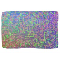 Colorful Bright Green Blue Purple Abstract Towels