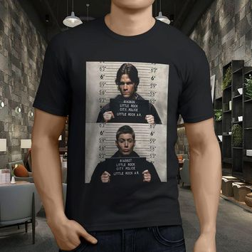 New Popular Supernatural Mug Sam Dean Winchester Men's Black T-Shirt Size S-3XL T Shirt Men 2017 Fashion Top Tee Plus Size