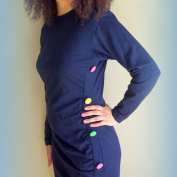 Vintage 1980's Andrea Jovine Blue Dress Form Fitting Cotton Spandex Knit with Side Buttons Detail
