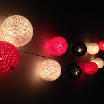Cotton ball lights for home decor,party decor,wedding patio,20 pieces indoor string lights,bedroom fairy lights hot pink,white,black