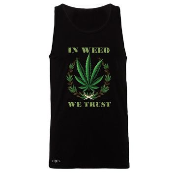 "Zexpa Apparelâ""¢ In Weed We Trust Men's Jersey Tank Dope Cannabis Legalize It Sleeveless"