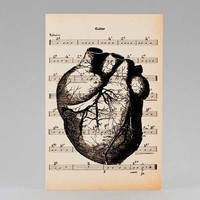 Anatomy black human heart  Greeting Card - Halloween - 4x6 on Ivory Paper  - by NATURA PICTA