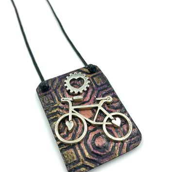 Hand Painted Silver Bicycle Necklace - One Of A Kind / Bicycle Jewelry, Bike Jewelry, Bike Necklace, Mountain Bike Gift, Bicycle Gift, Biker