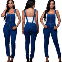 New Autumn Women Strap Jumpsuits Slim Full Length Pants Zipper Casual Party Overalls