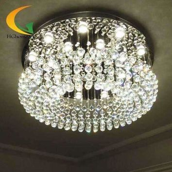 Modern minimalist living crystal chandelier crystal lamp lights round hall bedroom ceiling lamp crystal ball Restauran