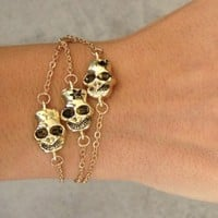 Triple Skull Bracelet - Gold | SABO SKIRT