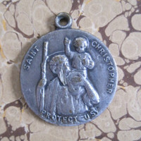 Vintage St Christopher Religious Medal