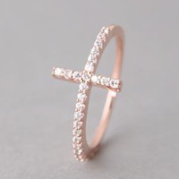 STERLING SILVER SIDEWAYS CROSS RING ROSE GOLD SIDEWAY CROSS RING by Kellinsilver.com - Sterling SIlver Jewelry Shop as ETSY