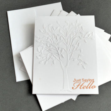 6 Elegant Tree Embossed Note Cards, Hello Note Cards, Blank Note Card, Elegant Cards, Stationery Card Set, Beautiful Note Cards, Invitations