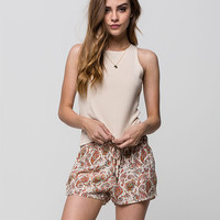 Others Follow Paisley Womens Shorts Cream Combo  In Sizes