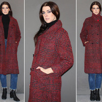 Vintage 60s TWEED WOOL COAT / Burgundy, Black + Red Boucle Coat / Double Breasted, Bracelet Length Sleeves / Mad Men / Sm Med