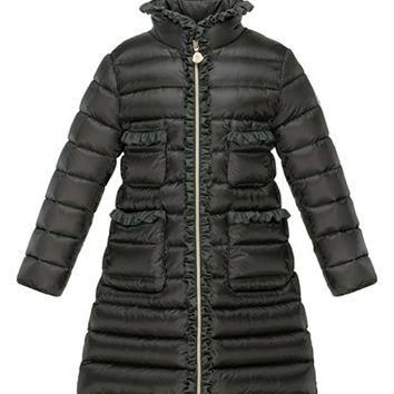 Girl's Moncler 'Ernestine' Quilted Long Down Coat,