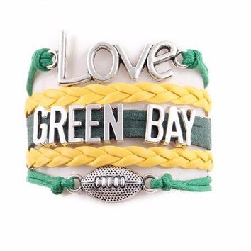 """Packers """"Love Green Bay"""" Football Leather Bracelet"""