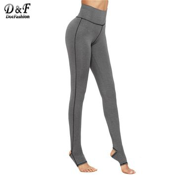Dotfashion Warm Pants for Ladies Fashion Women's Casual Pants Grey Marled Knit Topstitch Stirrup Slim Leggings
