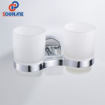 SOGNARE Silver Zinc alloy Toothbrush Tooth Cup Holder Double Cup Holder Glass Cups Wall Mount Bathroom Accessories Chrome 1608-2