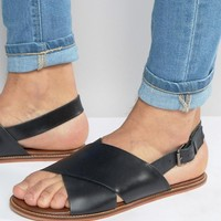 ASOS | ASOS Sandals in Black Leather With Cross Over Strap at ASOS