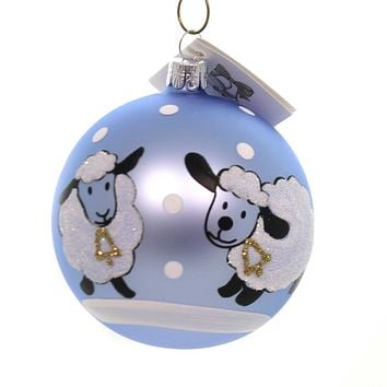 Golden Bell Collection BABY SHEEP BALL ORNAMENT Glass Hand Painted Bm683 Blue