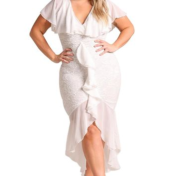 White Plus Size Chiffon Lace Waterfall Ruffle Midi Dress