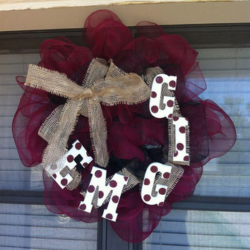 Texas A&M Deco Mesh Wreath by DecoMeshWreathsByLes on Etsy